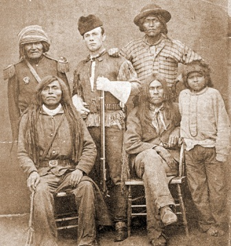 Apache agent John Clum in a group portrait with the Yuma Chief.