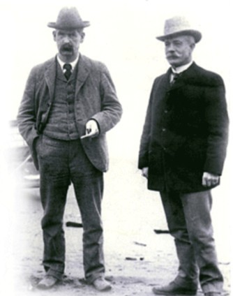 John Clum (right) and Wyatt Earp in Nome, Alaska in 1900.