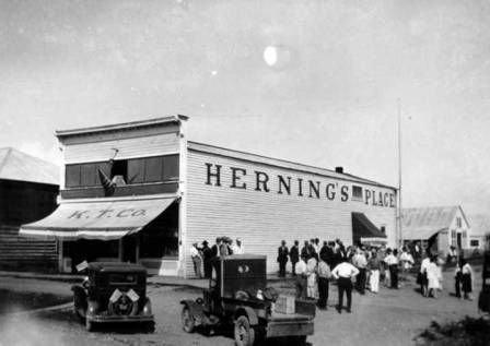 Orville Herning's general store in Wasilla, Alaska, circa 1931.