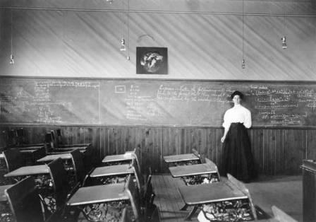 Harriet Hess in the Fairbanks High School, circa 1913/> <table border=
