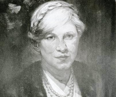 Painted portrait of Eleanor Reed by Claire Taylor, circa 1928.  Photo from the Mineral Industry Research Laboratory files.