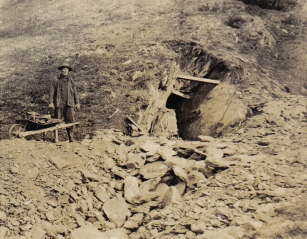Graphite mining on Ruby Creek, Kigluaik Mountains, Alaska, circa 1917.  Photo from the Tweet family collection.