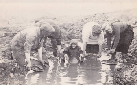 Panning on Coyote Creek, Port Clarence district, circa 1921-1922; from left to right, Edgar Tweet, unidentified, Bill Tweet, and two unidentified women.  Photo from the Tweet family collection.