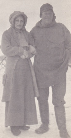 Photo of Nicholas and Evinda Tweet at their home in Teller, Alaska, circa 1919.  Photo from the Tweet family collection.