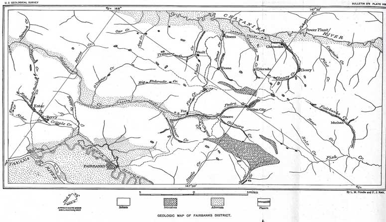 Early geologic nad topo map of the Fairbanks Mining District